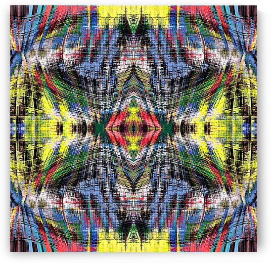geometric symmetry pattern abstract background in blue yellow green red by TimmyLA