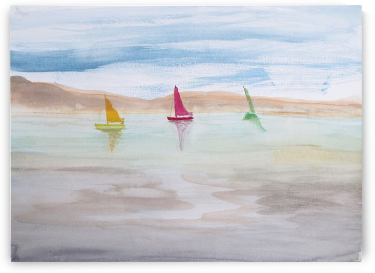 Three sailboats. by Alan Skau