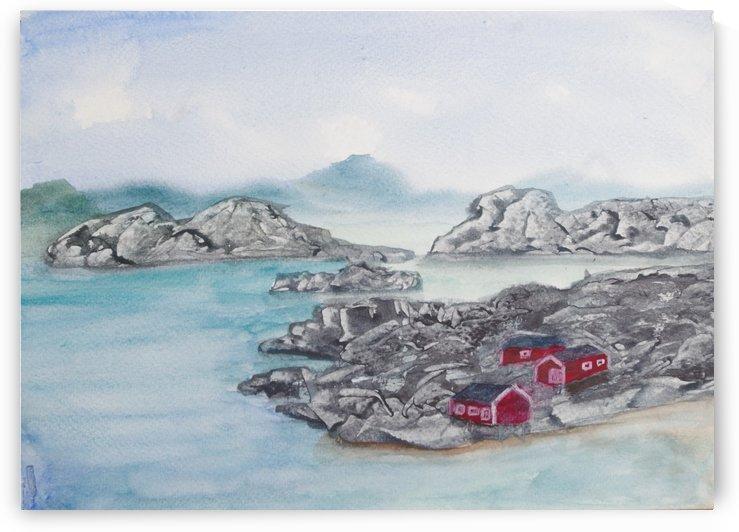 Fishing huts. by Alan Skau