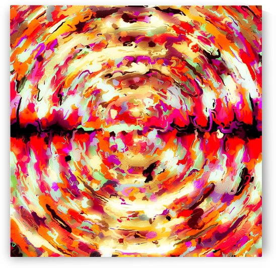 psychedelic circle pattern painting abstract background in red pink orange by TimmyLA