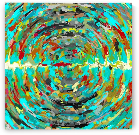 psychedelic circle pattern painting abstract background in green blue yellow brown by TimmyLA