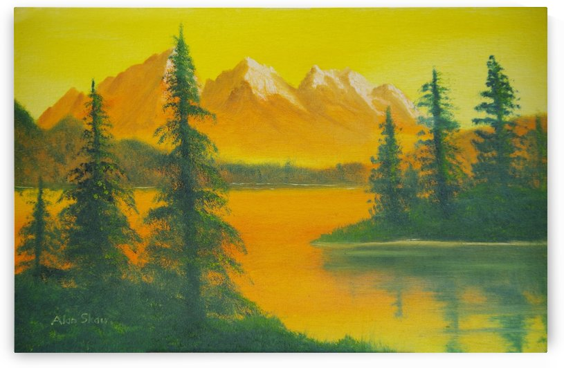 Yellow sky- snow capped mountains. by Alan Skau