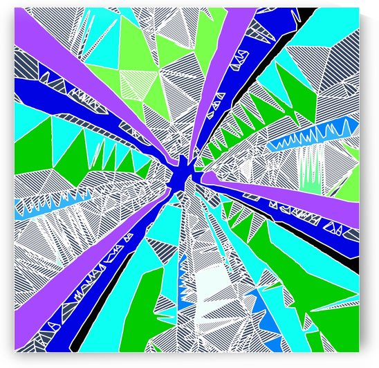 psychedelic geometric pattern drawing abstract background in blue purple green by TimmyLA