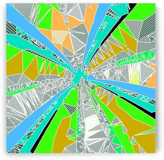psychedelic geometric pattern drawing abstract background in blue green yellow brown by TimmyLA