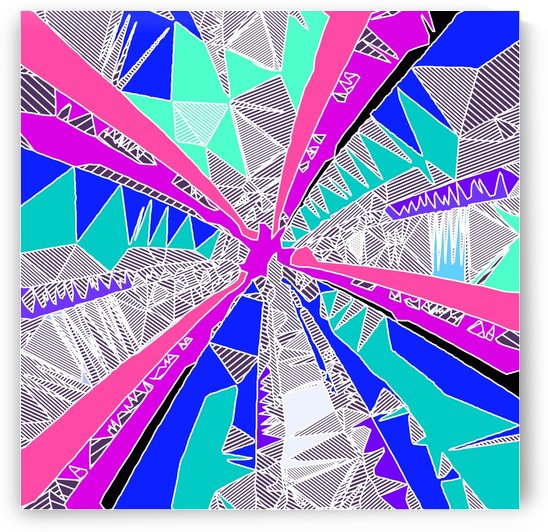 psychedelic geometric pattern drawing abstract background in blue pink purple by TimmyLA