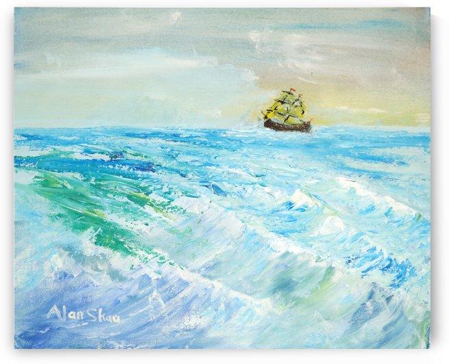 Sailing choppy sea with clear sky. by Alan Skau