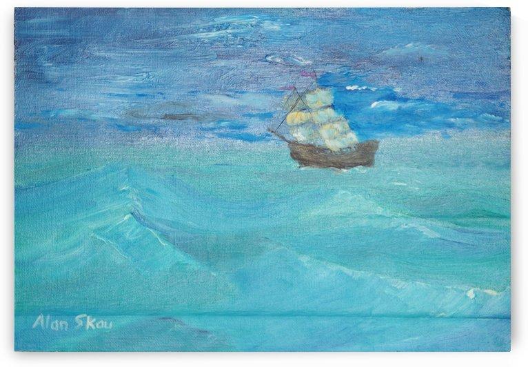 Sailing calm sea with dark sky. by Alan Skau