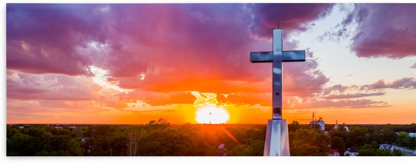 Rushville, IL Presbyterian Church Cross at Sunset II by Jordan Williams of Air Imagery Services