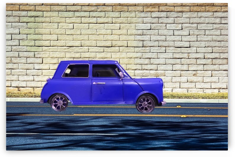 blue classic car on the road with brick wall background by TimmyLA