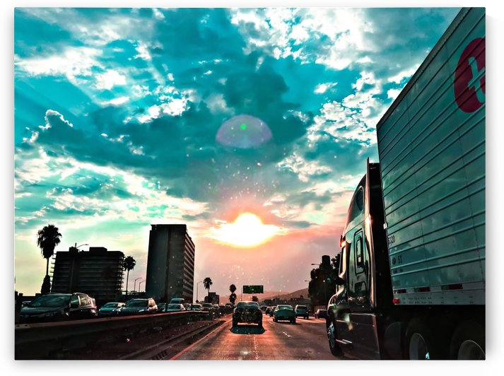 urban road with beautiful cloudy summer sunset sky by TimmyLA