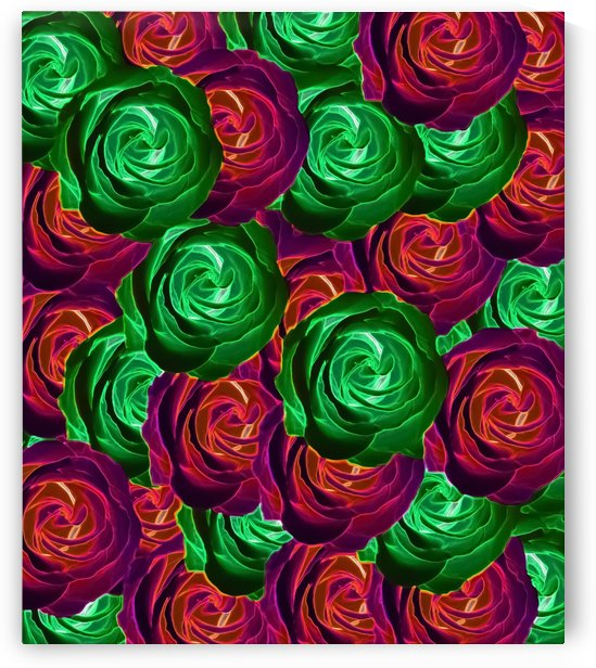 closeup rose pattern texture abstract background in red and green by TimmyLA