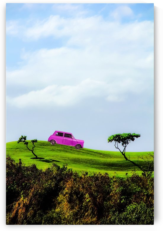 pink classic car on the green mountain with cloudy blue sky by TimmyLA