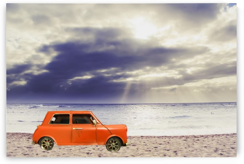 orange classic car on the sandy beach with beautiful sky and beach background by TimmyLA