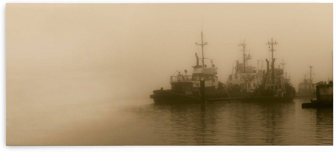 River Tugs on a Foggy Morning by Daulby