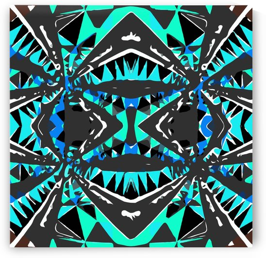 psychedelic geometric abstract pattern background in blue green black by TimmyLA