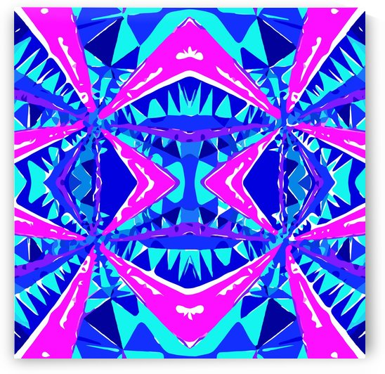 psychedelic geometric abstract pattern background in blue pink purple by TimmyLA