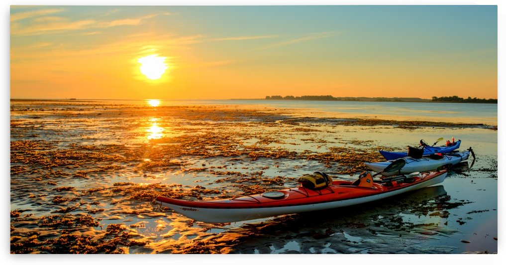 Kayak and sunrise by Sebastien Girard