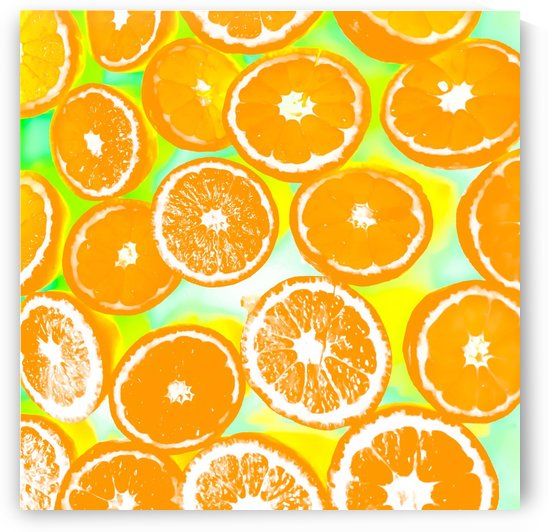 juicy orange pattern abstract with yellow and green background by TimmyLA