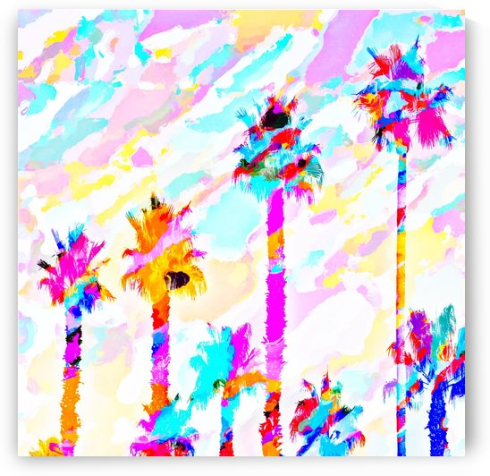palm tree with colorful painting texture abstract background in pink blue yellow red by TimmyLA