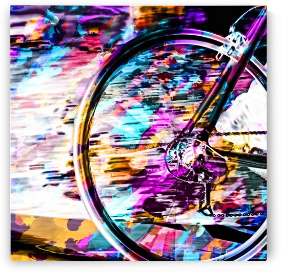 bicycle wheel with colorful abstract background in pink blue orange by TimmyLA