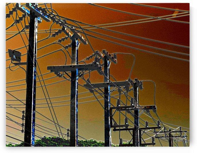Power Poles receding. by Alan Skau