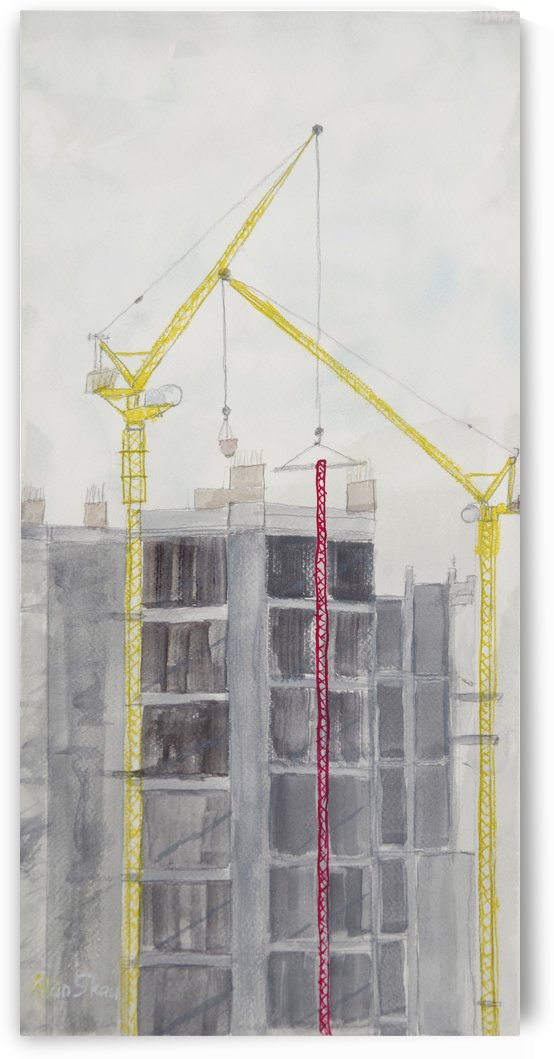 Construction Cranes   New Building. by Alan Skau