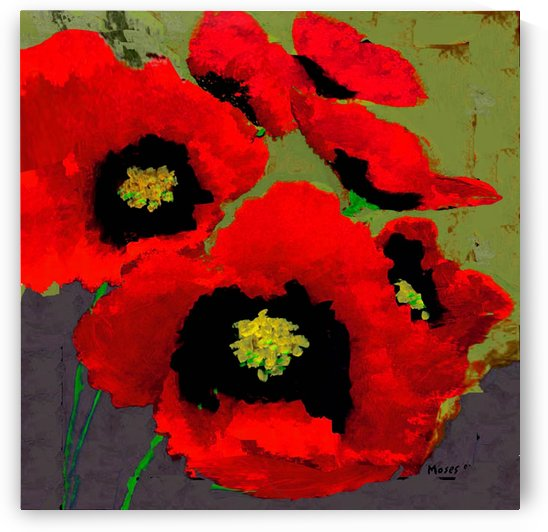 RED POPPIES ON OLIVE by Moses