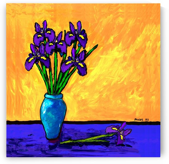 IRIS BOUQUET ON YELLOW by Moses