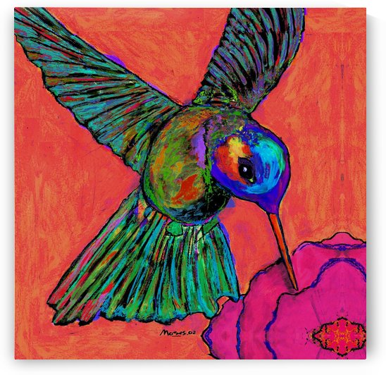 HUMMINGBIRD ON ORANGE by Moses