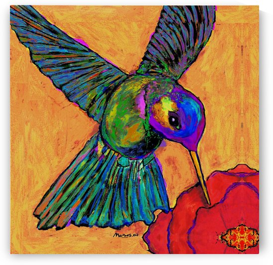 HUMMINGBIRD ON YELLOW by Moses