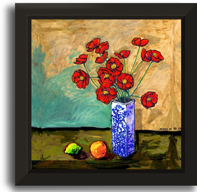 POPPIES IN A VASE WITH FRUIT by Moses
