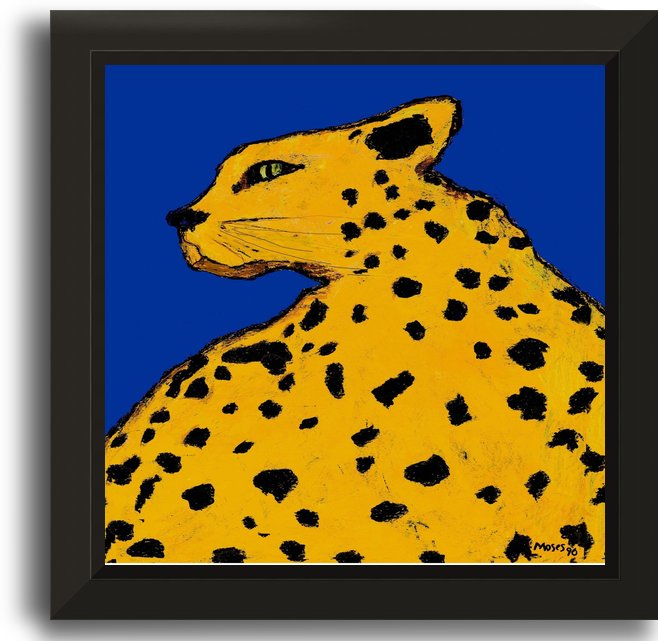 LEOPARD ON BLUE by Moses