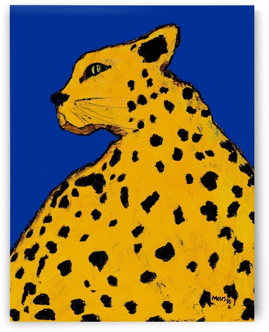 LEOPARD ON BLUE vertical by Moses