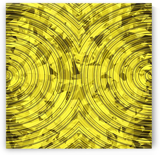 psychedelic geometric circle pattern abstract background in yellow by TimmyLA
