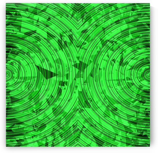 psychedelic geometric circle pattern abstract background in green by TimmyLA