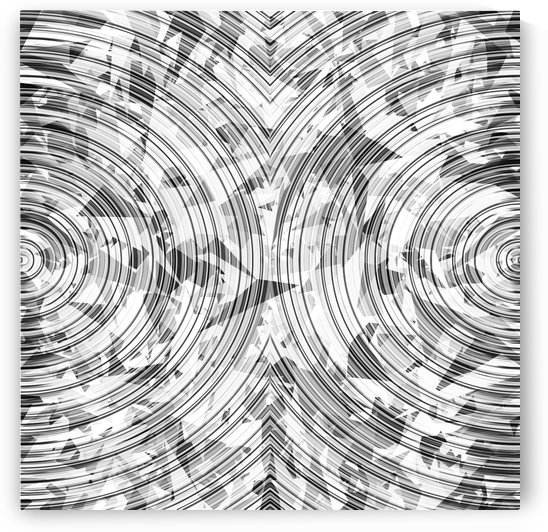 psychedelic geometric circle pattern abstract background in black and white by TimmyLA