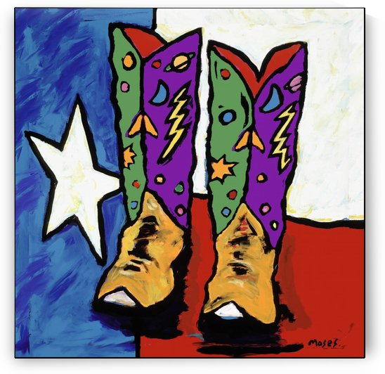 BOOTS ON A TEXAS FLAG by Moses