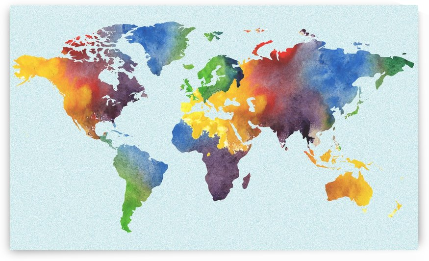 Bright Watercolor Map Of The World by Irina Sztukowski