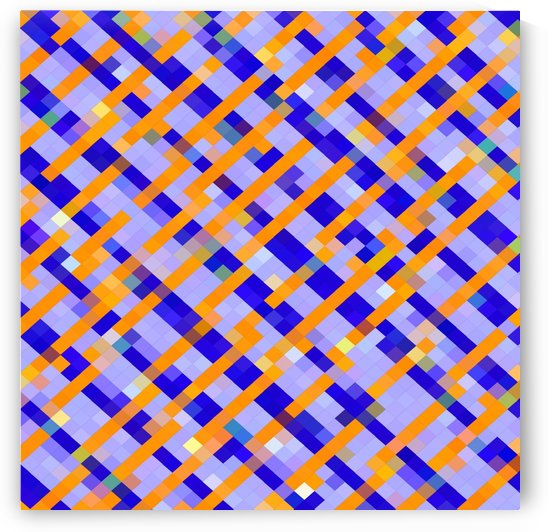 geometric pixel square pattern abstract background in orange blue purple by TimmyLA