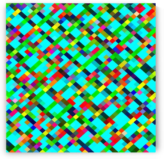 geometric pixel square pattern abstract background in green yellow blue orange by TimmyLA