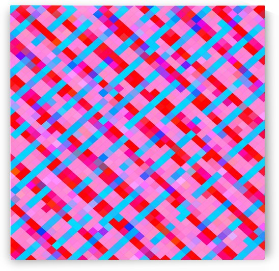 geometric pixel square pattern abstract background in pink blue red by TimmyLA