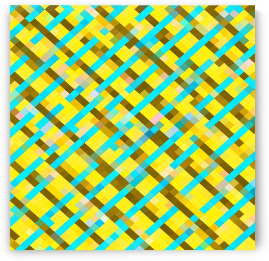 geometric pixel square pattern abstract background in yellow blue brown by TimmyLA