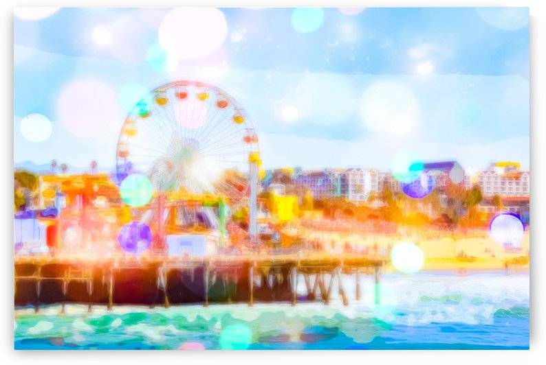Santa Monica pier, California, USA with colorful bokeh abstract by TimmyLA