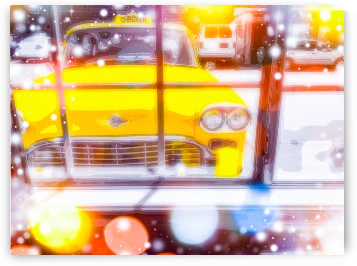 yellow classic taxi car with colorful bokeh light abstract background by TimmyLA