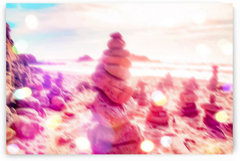 stone balancing at the sandy beach with summer bokeh light by TimmyLA