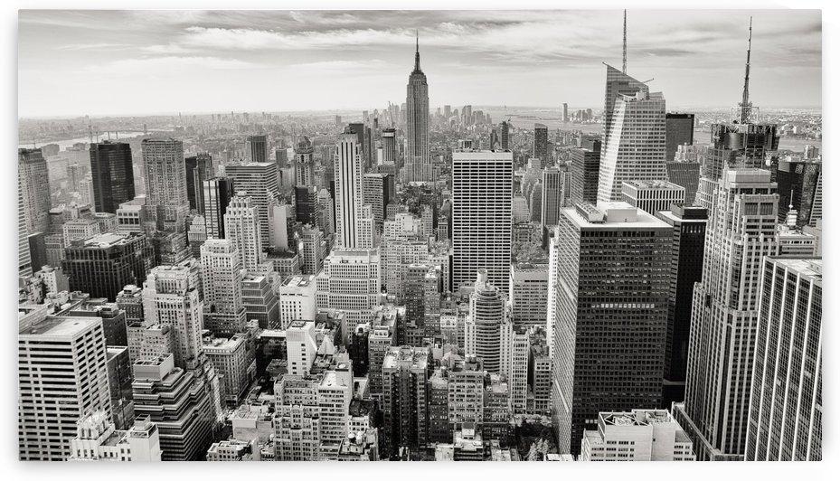 black and white city skyline buildings by Stockpix