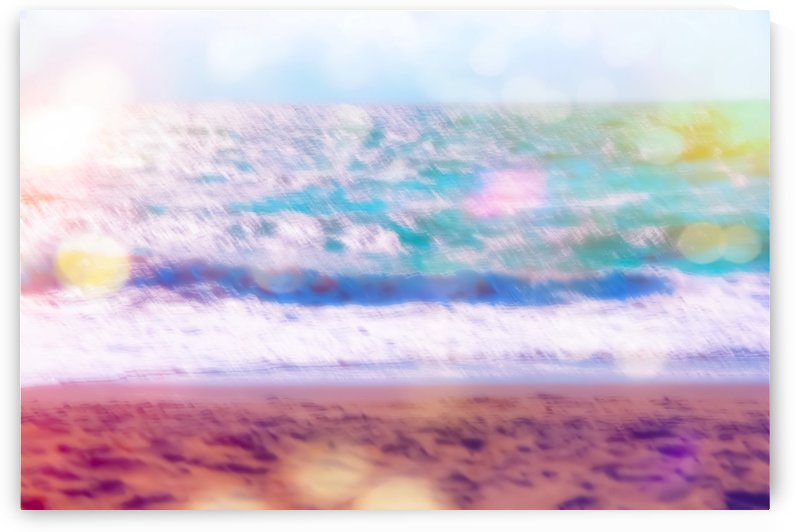 sandy beach with blue wave and summer light bokeh background by TimmyLA