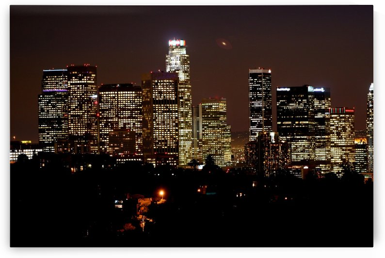 Los Angeles Skyline at Night #1 by Hold Still Photography