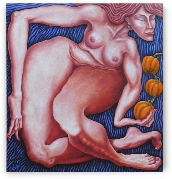 Girl with pumpkins by Andrey Polunin