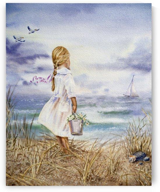 Watercolor Beach Painting Girl Boat And Ocean by Irina Sztukowski